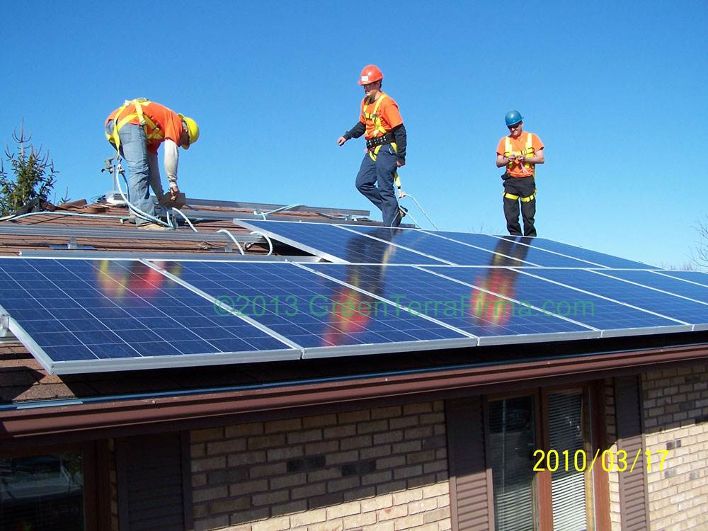 angled rooftop solar installation